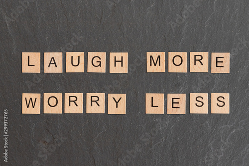 Платно Laugh More Worry Less Written With Game Tiles