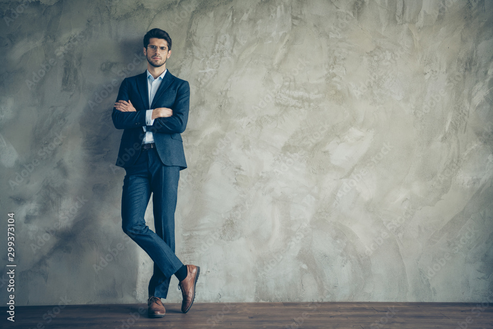 Fototapety, obrazy: Full length photo of successful masculine businessman with crossed hands standing over grey color background having copyspace wear modern trousers