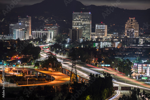 Obraz na plátne Night view of downtown Glendale office buildings and 134 freeway near Los Angeles in Southern California