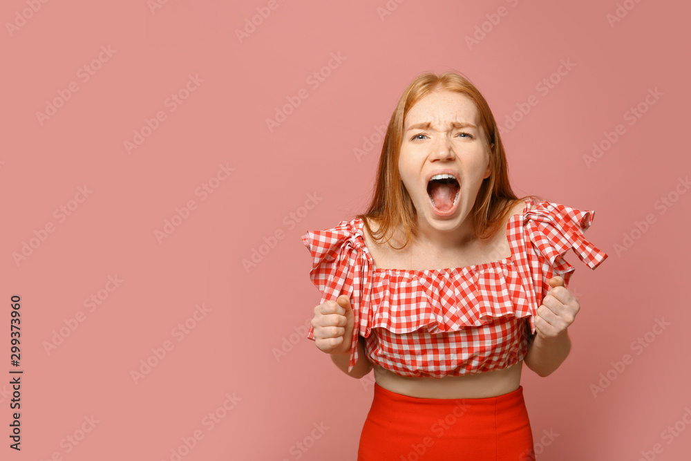 Fototapety, obrazy: Portrait of angry screaming woman on pink background, space for text
