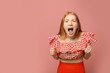 Portrait of angry screaming woman on pink background, space for text