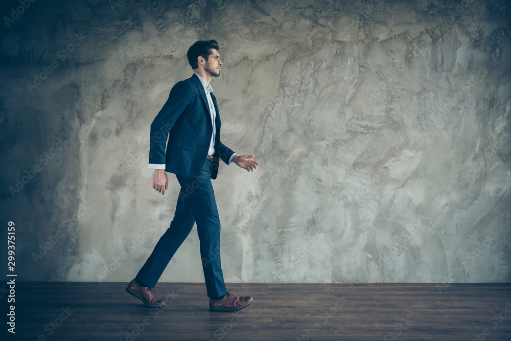 Fototapety, obrazy: Full length profile side photo of serious brutal confident freelancer go to conference ready to decide decision in his company owning wearing stylish clothes isolated over grey color background