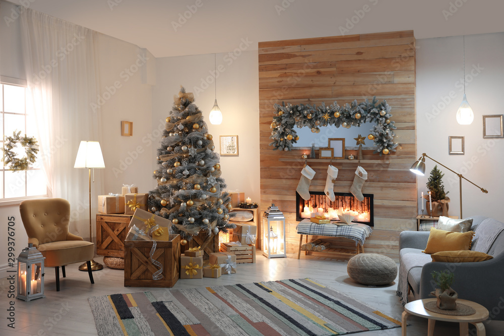 Fototapety, obrazy: Beautiful living room interior with decorated Christmas tree and fireplace