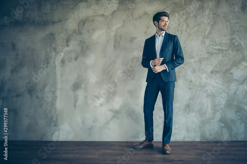 Full length profile side photo of stylish modern businessman stand over grey bac Wallpaper Mural
