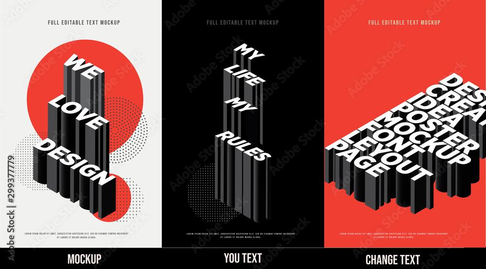 Fototapeta Modern poster design template 3D Text Effect Mockup /full editable