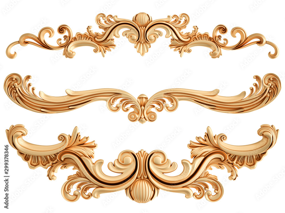 Fototapety, obrazy: Golden ornamental segments seamless pattern on a white background. luxury carving decoration. Isolated