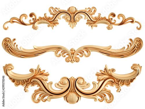 Fototapeten Künstlich Golden ornamental segments seamless pattern on a white background. luxury carving decoration. Isolated