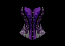 Luxury Corset Logo. Lace Dark Purple Vintage Corset, Gothic Style. Vector Design Isolated On Black Background