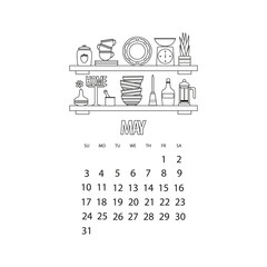 May month 2020 calendar. Kitchen shelf with utensils and decor, outline vector illustration of scales and teapot and candle