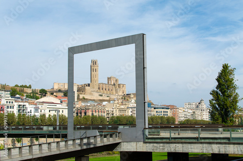 View of the Cathedral of La Seu Vella (Lleida, Catalonia, Spain) through a square frame