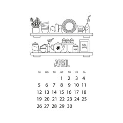 April month 2020 calendar. Kitchen shelf with utensils and decor, outline vector illustration of cupcakes and teapot and vase