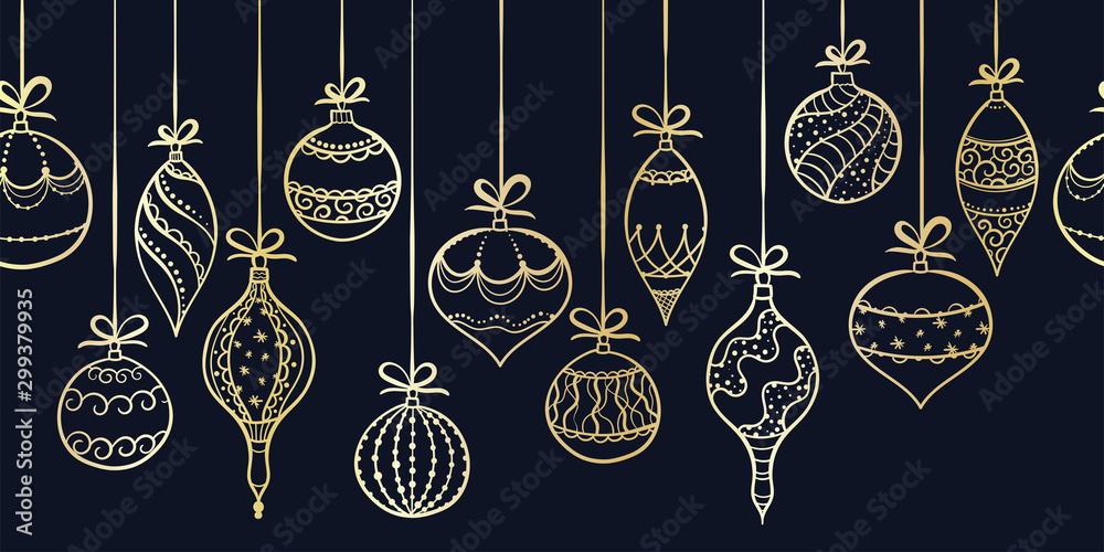 Fototapety, obrazy: Elegant hand drawn christmas ornaments horizontal seamless, decorated baubles hanging, great for christmas wrapping, banners, invitations, wallpaper - vector design