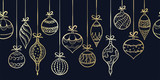 Elegant hand drawn christmas ornaments horizontal seamless, decorated baubles hanging, great for christmas wrapping, banners, invitations, wallpaper - vector design
