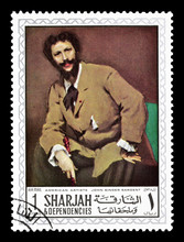Cancelled Postage Stamp Printed By Sharjah, That Shows Painting By John Singer Sargent, Circa 1968.