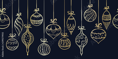 Obraz Elegant hand drawn christmas ornaments horizontal seamless, decorated baubles hanging, great for christmas wrapping, banners, invitations, wallpaper - vector design - fototapety do salonu