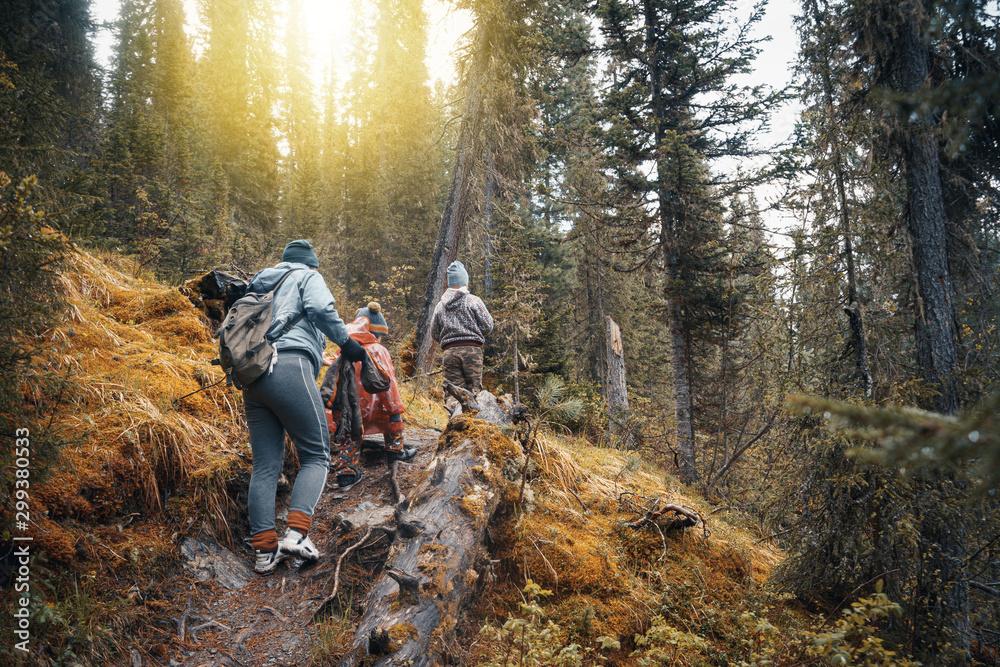 Fototapety, obrazy: family hiking