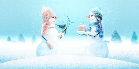 FototapetaSchneemann - Weihnachtsmotiv