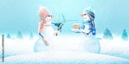 Spoed Fotobehang Wanddecoratie met eigen foto Schneemann - Weihnachtsmotiv