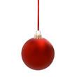 Glänzend Rote Weihnachtskugel am Band isoliert auf weissem Hintergrund