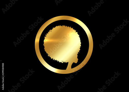 Photo Gold luxury Afro logo design