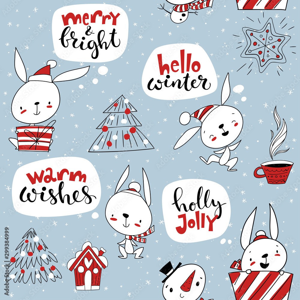 Vector seamless pattern for winter holidays with cute rabbits and Christmas decorations.