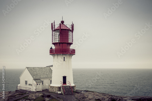 Norway, lighthouse. South lighthouse in Norway. Foggy travel season
