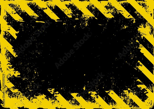 Photo grunge danger background with yellow black stripes