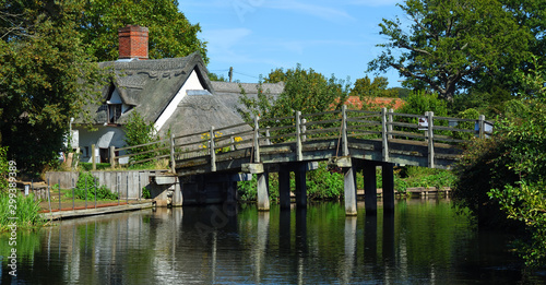 Fotografie, Tablou Pretty little bridge on the river Stour near Flatford Mill  East Bergholt Suffolk