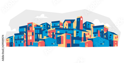 abstract city background with houses vector illustration  - 299389574