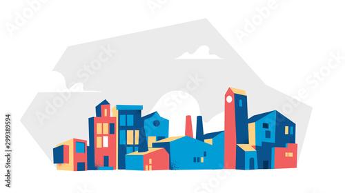 Fototapeta vector illustration of city buildings obraz