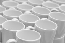 White Caramic Mugs Pattern, Close-up View