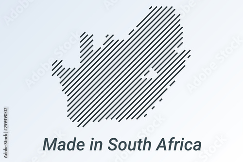 Fototapeta Made in South Africa, striped map in a black strip on a silver background