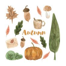 Cute Autumn Watercolor Set Wit...