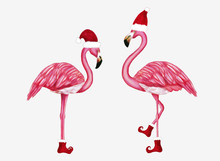 Winter Flamingo In Santa Hat And Shoes. Christmas Design For Cards, Backgrounds, Fabric, Wrapping Paper. Merry Christmas And Happy New Year Vertical Greeting Card.