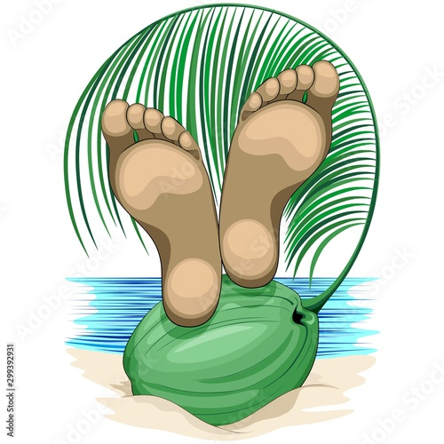 Tuinposter Draw Feet Relax on Coconut Beach Life Vacations Vector illustration isolated on White Copyright BluedarkArt