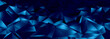 3d ILLUSTRATION, of blue abstract crystal background, triangular texture, wide panoramic for wallpaper.