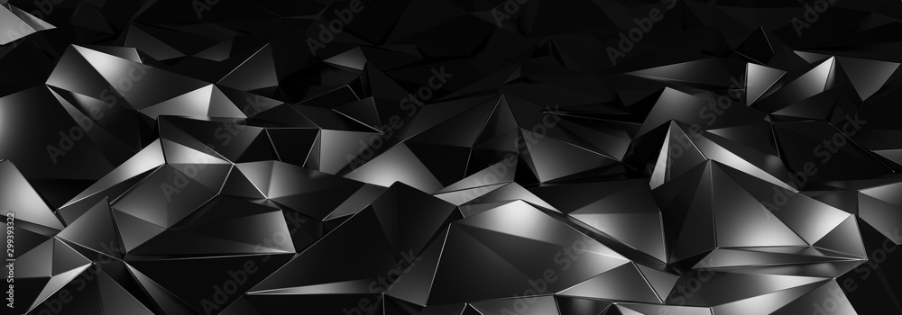 Fototapety, obrazy: 3d ILLUSTRATION, of black abstract crystal background, triangular texture, wide panoramic for wallpaper