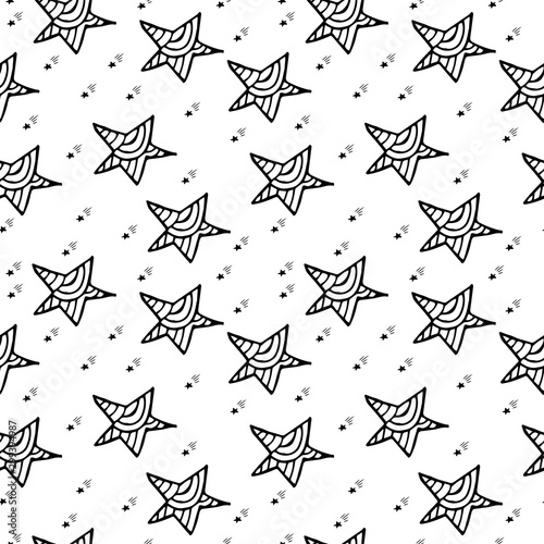 Fototapeta Gwiazdki  hand-drawn-creative-vector-star-icons-seamless-pattern-isolated