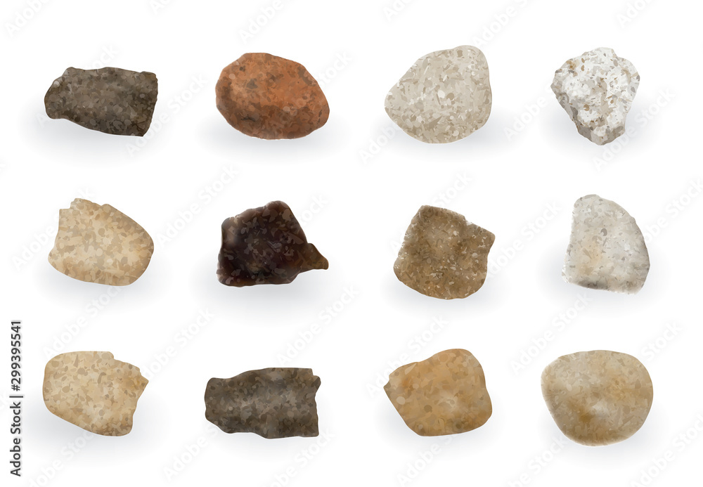 Fototapety, obrazy: Round River Stones or Sea Pebbles Isolated