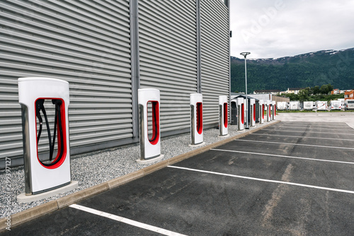 Canvas Print electric car charging station