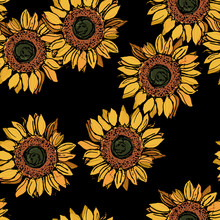 Seamless Floral Pattern With Sunflower Blossom.