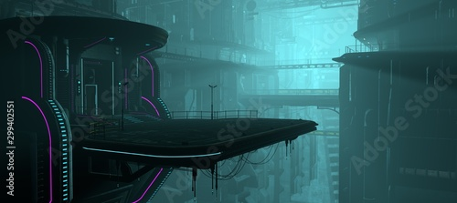 Cuadros en Lienzo 3D illustration of a futuristic city in a cyberpunk style