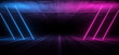 Asphalt Road Sci Fi Futuristic Neon Glowing Laser Show Tunnel Corridor Underground Garage Warehouse Triangle Shape Purple Blue 3D Rendering