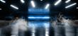 Leinwandbild Motiv Blue Laser Smoke Fog Tunnel Warehouse Cement Concrete Floor Underground Hall Garage Sci Fi Futuristic Modern Empty Space Backrgound 3D Rendering