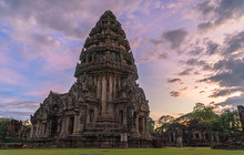 The Beautiful Stone Castle In Phimai Historical Park. Prasat Hin Phimai Ancient Khmer Temple In Nakhon Ratchasima Thailand. Phimai Stone Castle Built From Laterite Stone In Angkorian Period Arts.