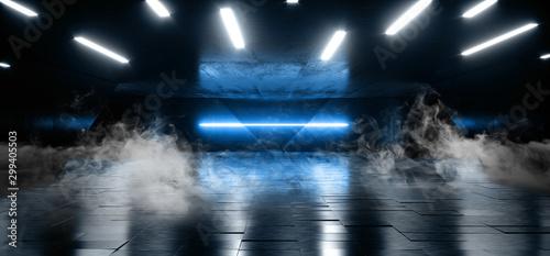 Blue Laser Smoke Fog Tunnel Warehouse Cement Concrete Floor Underground Hall Garage Sci Fi Futuristic Modern Empty Space Backrgound 3D Rendering - 299405503