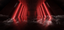 Orange Red Glowing Pylons Cement Concrete Hallway Tunnel Corridor Dark Underground Garage Gallery Stage Sci Fi Futuristic Modern Background 3D Rendering