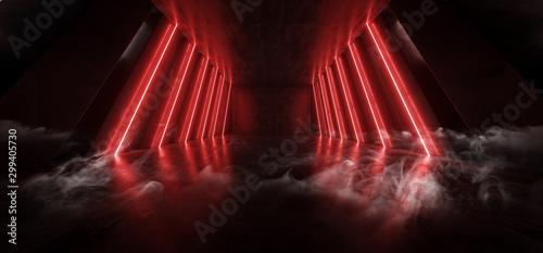 Obraz Orange Red Glowing Pylons Cement Concrete Hallway Tunnel Corridor Dark Underground Garage Gallery Stage Sci Fi Futuristic Modern Background 3D Rendering - fototapety do salonu