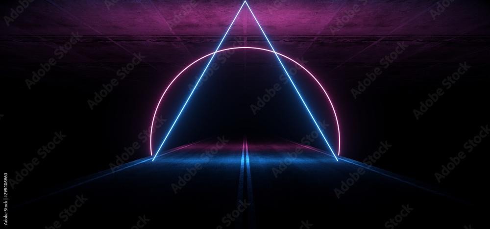 Fototapety, obrazy: Asphalt Road Sci Fi Futuristic Neon Glowing Laser Show Tunnel Corridor Underground Garage Warehouse Triangle Shape Purple Blue 3D Rendering