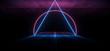 Leinwandbild Motiv Asphalt Road Sci Fi Futuristic Neon Glowing Laser Show Tunnel Corridor Underground Garage Warehouse Triangle Shape Purple Blue 3D Rendering
